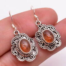 925 Solid Sterling Silver Earrings, Natural Sunstone Handcrafted Jewelry CE802
