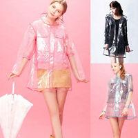 Women Girls Men Transparent Hoodie Clear Rainwear Runway PVC Raincoat Rain Coat