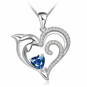 Valentine 1.50 Ct Heart Blue Topaz Diamond Dolphin Pendant 14k White Gold Over