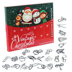 Metal Wire Puzzle Toys Advent Calendar Christmas Countdown Calendar Gift Box Set