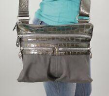 BRIGHTON Med Grey Canvas Leather Crossbody Shoulder Hobo Tote Satchel Purse Bag