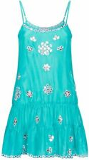 JULIET DUNN  London turquoise Mirror-work silk cami mini dress cover up £328