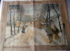 UNUSED VINTAGE COLLECTION DE PARIS PRINTED TAPESTRY CANVAS VILLAGE WITH SNOW