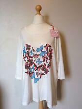 Butterfly Art 3/4 Sleeve Heart T Shirt Top Size 22/24 BNWT White Uk Freepost