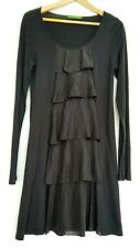 Designer VELVET casual dress size M --MINT-- long sleeve below knee jersey/ silk