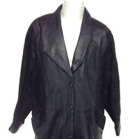 WILSON'S Men's Long Black Leather Jacket Button Up Paisley Sleeves Size Large