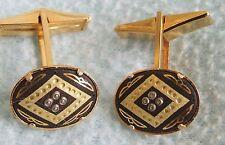 Vintage 1960s Ornate Goldtone Spanish Damascene CUFFLINKS