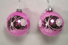 2 Christmas Ornaments, Pink Glass Ball White Pearls & Lace Swirl Design
