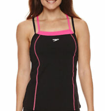 Speedo Size 14 Solid Black Pink Endurance+ Tankini Swimsuit Top NWT