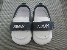 Brand New Genuine Armani Baby Boy Pram Leather Shoes Size 17 3-6Months
