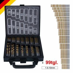 HSS Spiral-Bohrer Satz Set Metallbohrer Titan Tin Sortiment Mini 99-tlg 1.5-10mm