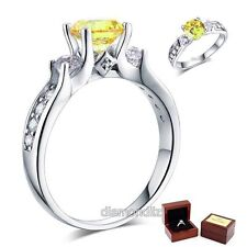 Ct Yellow Canary Lab Created Diamond 925 Sterling Silver Engagement Ring 1.25