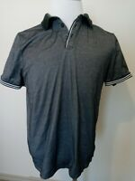 Perry Ellis Mens Short Sleeve Black Golf Black Shirt Size Large