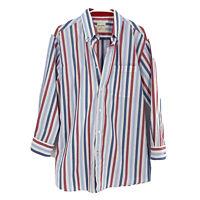 SAMUEL WINDSOR M Mens Striped Red White Blue 100% Cotton Dress Shirt