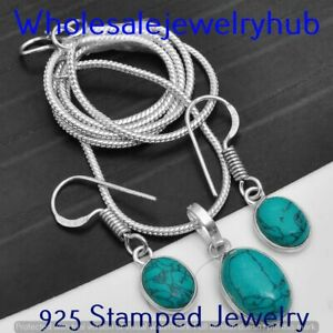Turquoise 925 Silver Sterling Plated Chain With Pendant+Earring Sets CST-15-127
