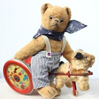 Rare Weiersmüller Willi Teddy Bear 30s collector Teddy 30 s w Foxy on iron wheel