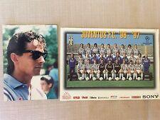 2 CARTOLINE CALCIO GRANDI  JUVENTUS F.C. SQUADRA  1996/97 E FOTO ROBERTO BAGGIO
