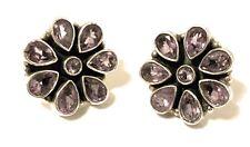 Sereta Sterling Silver Purple Facet Amethyst Flower Stud Earrings, 925, Gift, UK