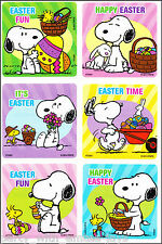 Snoopy Stickers x 6 - Easter Party Favours - Snoopy Easter Eggs Stickers Peanuts