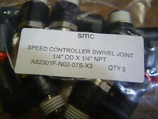 "QTY 5 SMC AS2301F-N02-07S-X3 Swivel Speed Control one Touch 1/4"" OD X 1/4"" NPT"