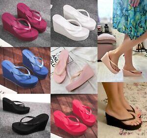 Womens 2021 New Sexy Platform Wedge High Heel Flip Flops Beach Summer Sandals