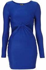 TOPSHOP Royal Blue Bodycon Fitted Tight Cutout Party Pencil Stretch Dress UK 10