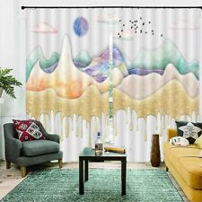 Gold Blue Quicksand 3D Curtain Blockout Photo Printing Curtains Drape Fabric