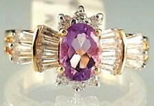 Gold Plated Cocktail Ring Amethyst Imitation CZ Purple Elegant Ladies Size 5.5