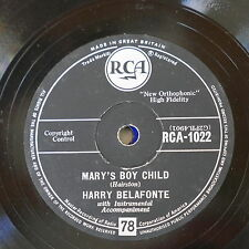 78 rpm HARRY BELAFONTE mary`s boy child / eden was just like this RCA-1022