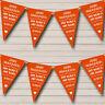 Vintage Just Married Burnt Orange Personalised Wedding Bunting Banner Garland