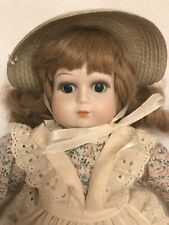 Enesco? Marked Ta Chin Porcelain Doll 22� Vgc Flower Print Dress, Apron, Bonnet