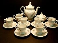 Wawel China Demitasse Set Poland Coffee Pot Creamer Sugar Bowl Cups & Saucers