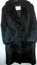 Dark brown real vintage Rabbit fur Coney long winter coat size 12 plush