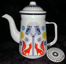 WOLF AND WILD FOLKLORE ENAMEL TEA COFFEE POT OWLS AND FOXES