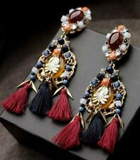 Boucles d'Oreilles Clou Gros Coton Fil Rouge Noir Ambré Bleu Ethnic XX 5
