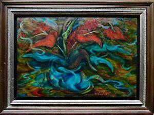 *REDUCED* Bertha Kuvshinoff Abstract Still Life Oil Painting, Signed & Framed