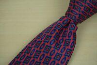 Stefano Ricci Cherry Red Egyptian Blue Geometric Floral Silk Tie