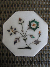 "Vintage Pietra Dura Gemstone Inlay Marble Tile India 4"" Octagonal Home Decor"