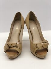 e278c3820e27 PRADA Nude Leather Heels Shoes Bows Womens Platform Sz 37 eu   7 us