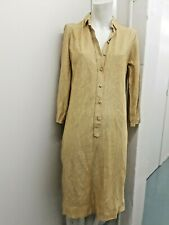 New Vintage 1960's Gold Lame Shirt Dress Deep V Plunge Metallic Jersey Tunic Nos