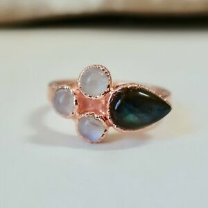 Labradorite and Moonstone Flower Ring in Copper