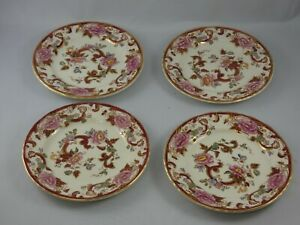 Four 4 Masons Ironstone Red Mandalay Side Plates