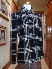 NWT$5.6K CHANEL Black Beige Ecru Plaid Fantasy Tweed 2017 Jacket Fr 42, US6,8