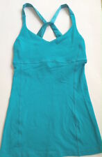 LULULEMON Practice Daily Tank Top w Shelf Bra Surge Blue size 4 Satin Back EUC