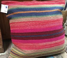 ❤️ Andaman Pink Stripe Wool Cushion Cover 60cm x 60cm Fair Trade Plain Zip Back