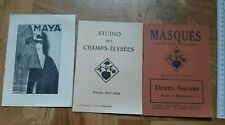 FRANCE LOT 1930s THEATER PLAY BROCHURE BOOKLET AD masque STUDIO CHAMPS ELYSEES