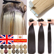Russian THICK Tape In Remy Real Human Hair Extension Straight Curl 60pcs 150g UK