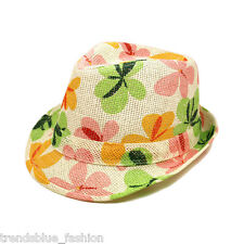 Premium Flower Floral Print Fedora Straw Hat with Matching Band