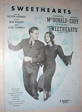 1938 SWEETHEARTS Sheet Music JEANETTE MacDONALD, NELSON EDDY by Victor Herbert