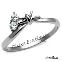 WOMEN'S SILVER STAINLESS STEEL AAA CZ FLOWER PROMISE FASHION RING SIZE 5-10